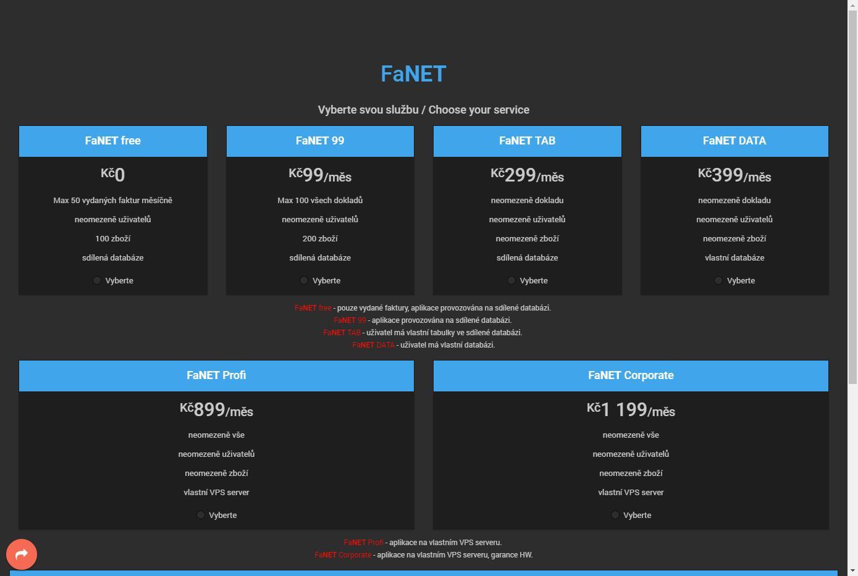 FaNET - fakturace, objednávky, řízení skladu